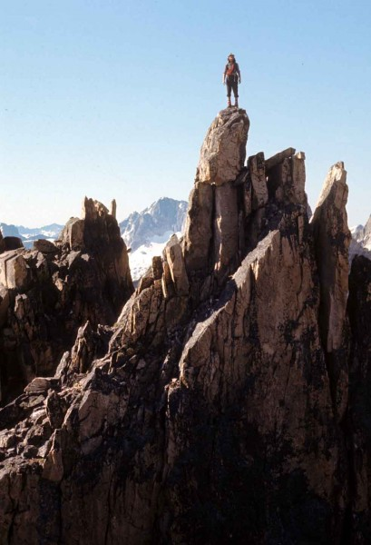 Harry Bowron posing on Veritra Ridge, 1971.