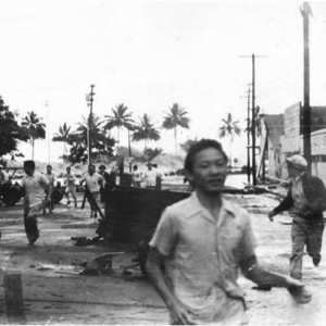 Hilo residents attempting to escape the Aleutian Island generated 1946...