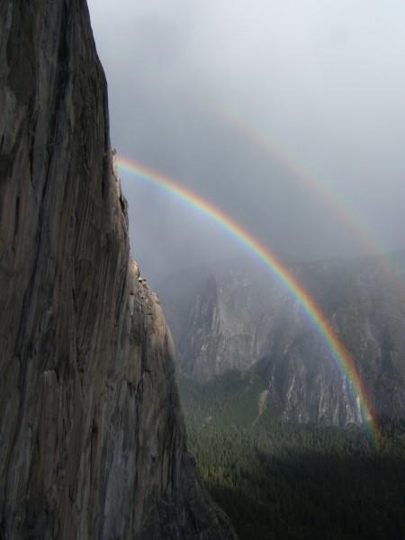 from side of El Cap as storm breaks