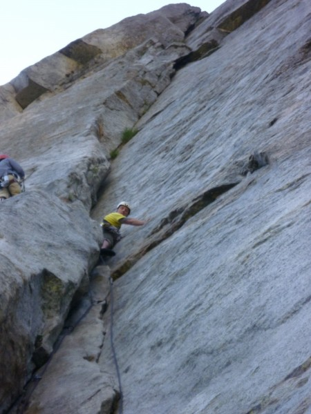 Me mellowing at the pitch 1 crux.