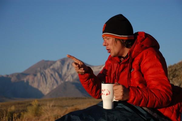 Davis gestures over coffee