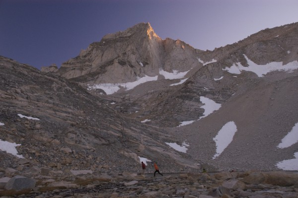 Final rays on Bear Creek Spire from Dade Lake.