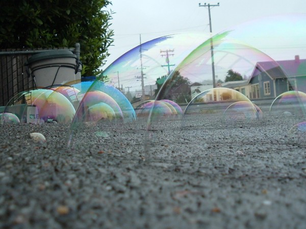 Big bubbles shot lying on the ground. Paul Humphrey.