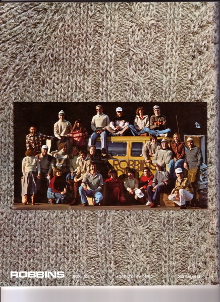 Robbins wholesale and retail crew, 1979.  Catalog back cover.