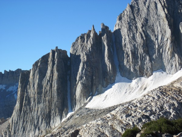North Peak couloirs - left looking more melted out and right looking p...