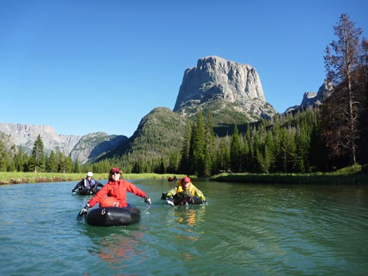 packrafting out on the Green River with Squaretop in the background