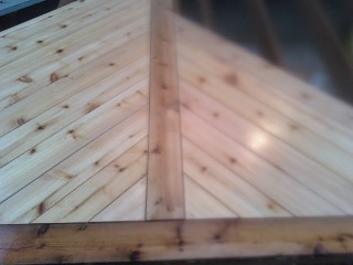 No nails holes in the face of the deck. Really cool pattern. No splice...
