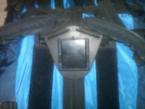This is a picture of the shoulder strap buckle attached to the webbing...