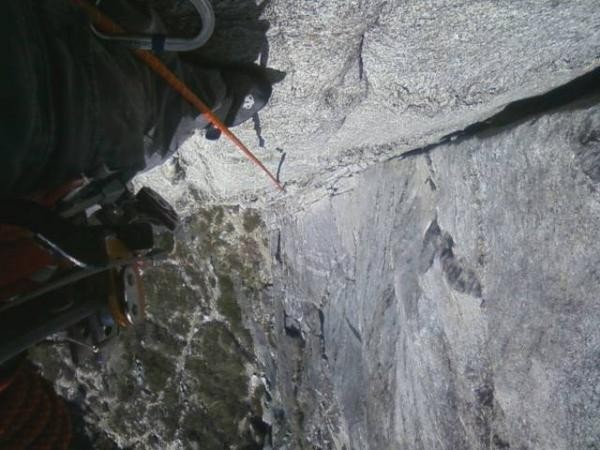 Second pitch right before second belay point looking down