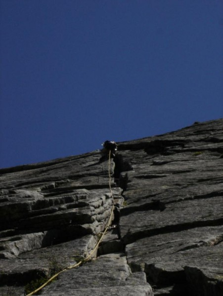 Second pitch of the climb. Recommended first lead rout very safe.