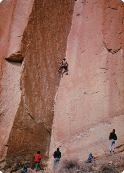 Hamish Fraser on-sight flash Sunshine Dihedral .12a, Smith Rocks while...