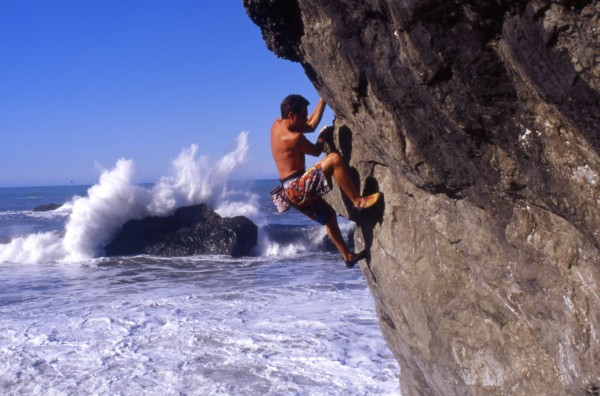 Eric Chemello flees from the sea, Lost rocks, Ca. (pic Copywritten)