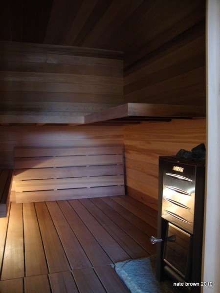 wood fired sauna in the yoga studio building