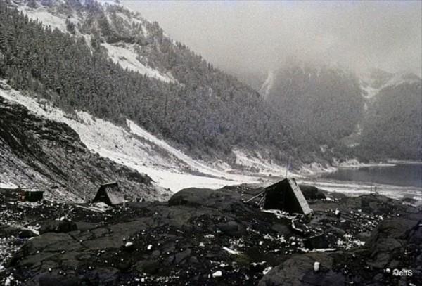 The huts at Sentinel Bay, Garabaldi Lake 1979 - a place called home fo...