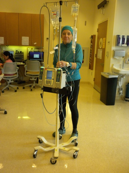 Running tights and top and laps around the chemo ward...everyone has t...
