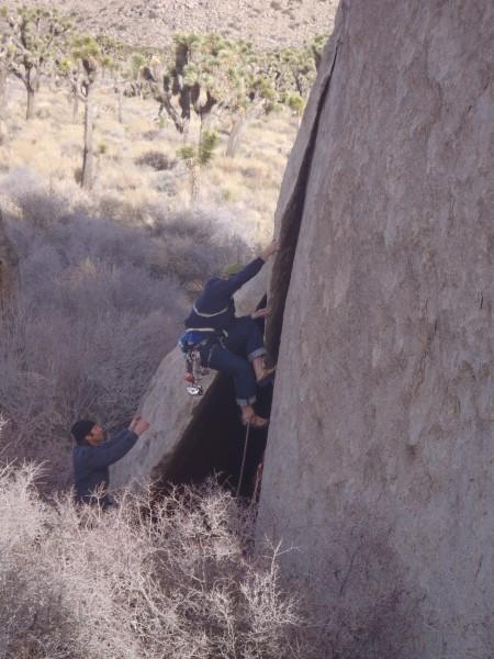 Seth starts up his first J-Tree climb.