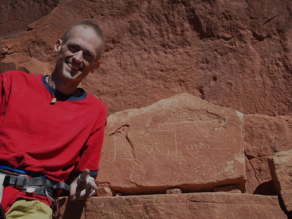 Paul Humphrey, very ill and happy after Supercrack, Indian Creek, UT.