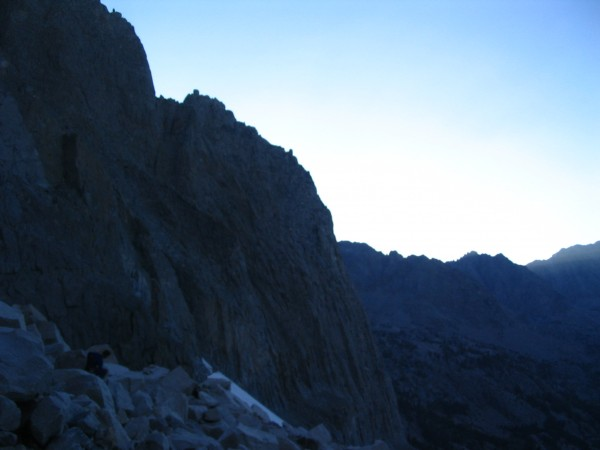 The Dark Star buttress in the setting sun. We made it back down off th...