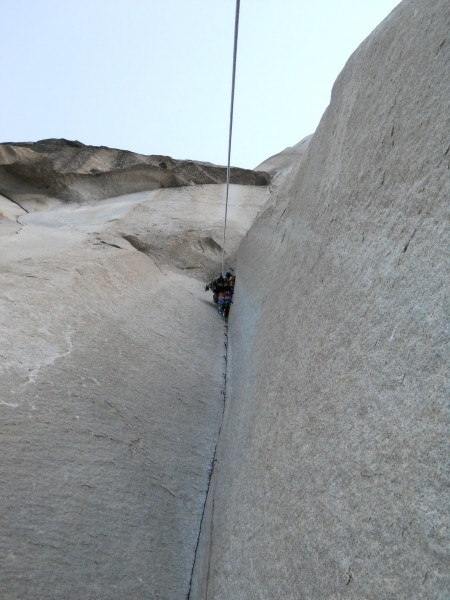 William on the scariest pitch of the route