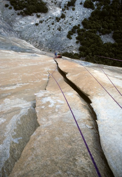 Looking down after leading the Leavittator pitch, First ascent of Scor...