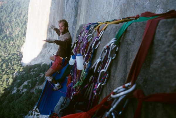 Rob Slater at the California Zone bivy. First ascent of Scorched Earth...