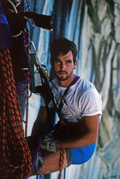 Randy Leavitt at the belay during the first ascent of Scorched Earth, ...
