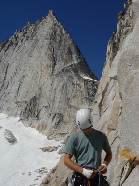 Base of McTech Arete, Bugaboo Spire behind