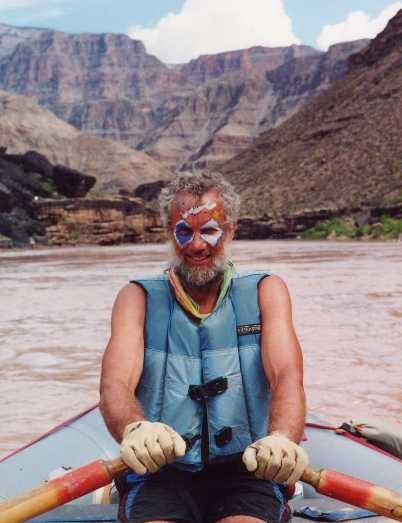 BooDawg rowing a boat in Grand Canyon in 2001, my last trip down there...