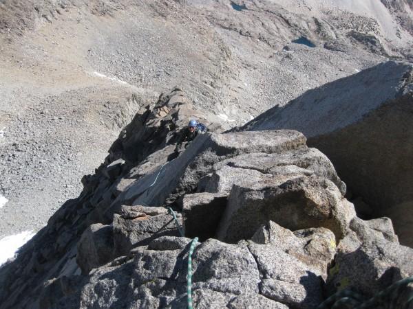 Bryan climbing up the Arete