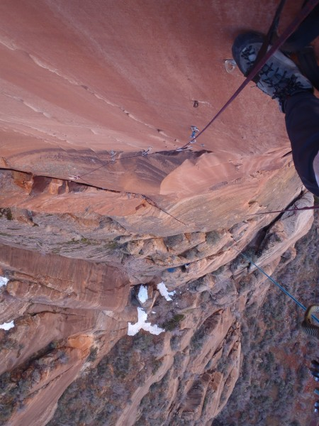 The steep bolt ladder while linking pitch 5 and 6