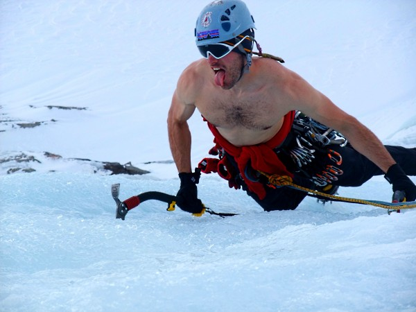 "shirtless corn ice climbing, 200 ft above the snow on ""Freedom"" Bard/H..."