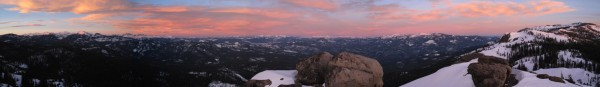 Sunset from Queens Throne Dome with view of the Sierra Crest (Left...