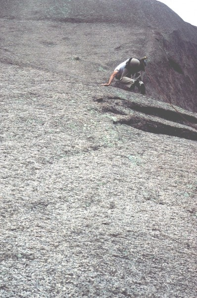 "BDC on the second pitch of ""Topographical Oceans."" 1985 ascent."