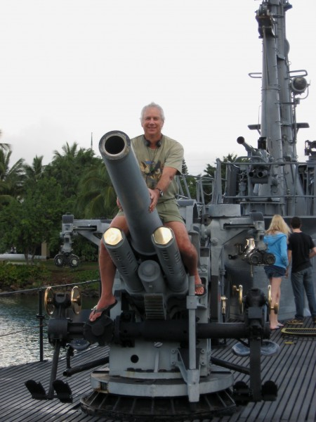 Ego-Testicle BooDawg on the Deckgun of the USS Bowfin. These are REAL ...