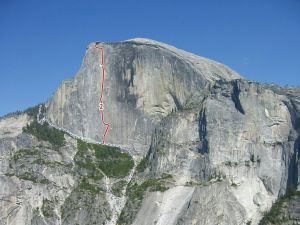 Half Dome - Direct Northwest Face 5.14a or 5.10 C2+ - Yosemite Valley, California USA. Click to Enlarge