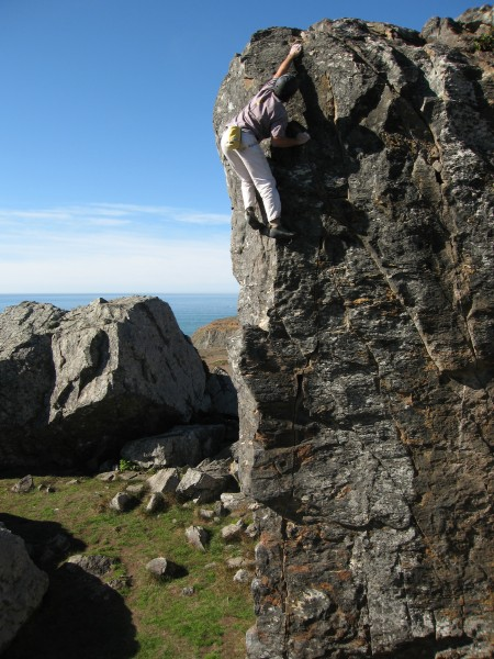 John &quot;The Verm&quot; Sherman flashes the highball Pelican Arete (V0R/5.10a ...