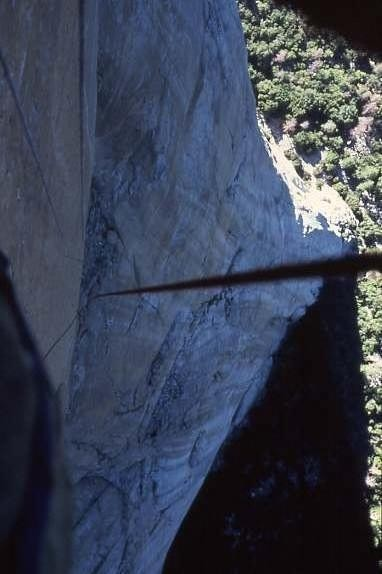 AM on the Shield headwall below Triple Cracks, '80