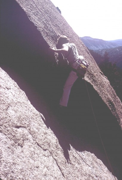 Anne Carrier (Raubach) on the lower crux move (5.10a or 5....