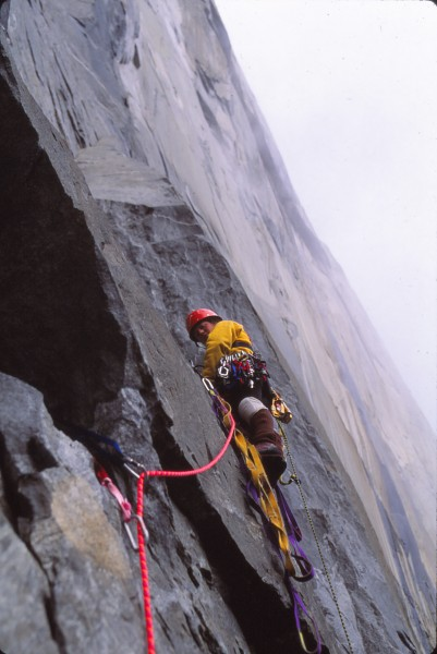sue leading the difficult hooking and free climbing pitch on zenata,el...