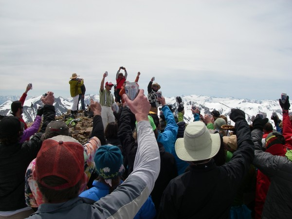 A toast to departed friends and family.  80+ on the summit.