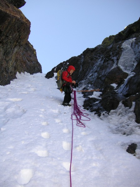 A pleasant belay: two TCUs in a crack, two ice tools in the snow, and ...