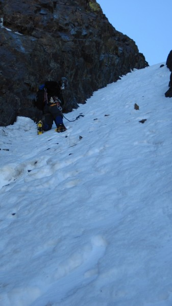 Upwards on the seemingly unending soft snow. Note: the rocks in the sn...