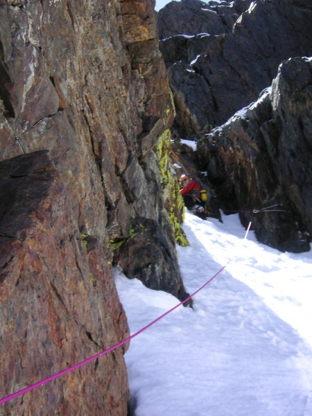 The snow was feeling kinda warm, wet, and unstable, so the rope came o...