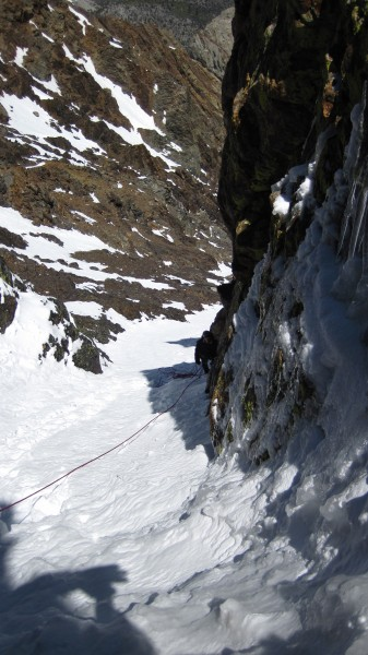 Looking back to the belay from just below the WI3 ice step mentioned b...