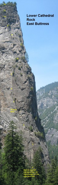 Lower Cathedral Rock - East Buttress overlay