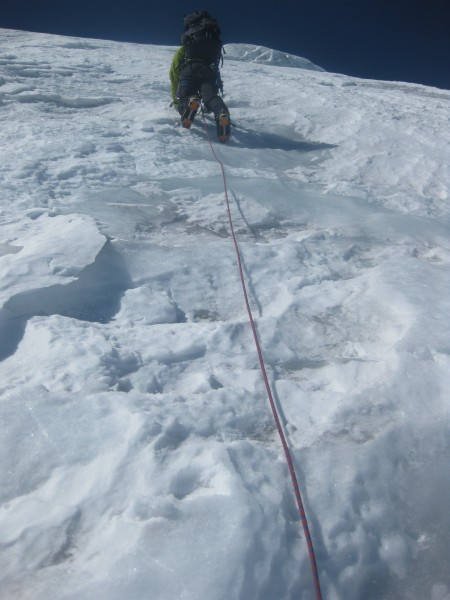 Shane climbing up first ice pitch