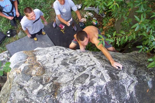Unnamed problem at lower Baldy. Note the very young Chas Wilson spotti...