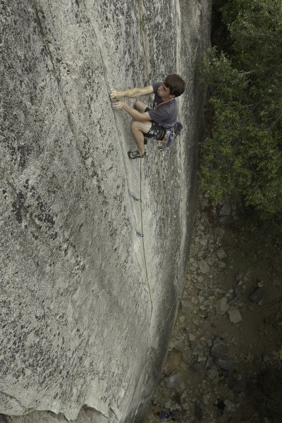 Daniel Montague on Lazy Bum 5.10c - Sunny Side Bench, Yosemite Nationa...