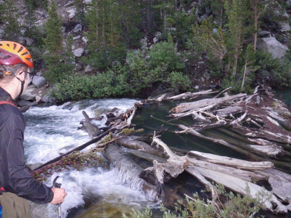 Justin checking out the log jam at the Third Lake outlet @ 5:45am.