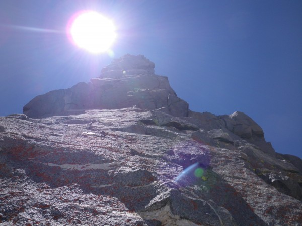 Just below the traverse around to the right of Ibrium Tower